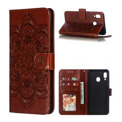 Intricate Embossing Datura Solar Leather Wallet Case for Samsung Galaxy A30 - Brown