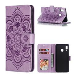 Intricate Embossing Datura Solar Leather Wallet Case for Samsung Galaxy A30 - Purple