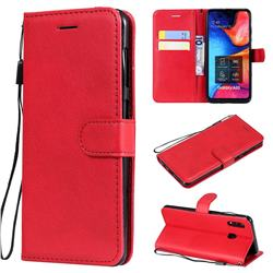 Retro Greek Classic Smooth PU Leather Wallet Phone Case for Samsung Galaxy A30 - Red