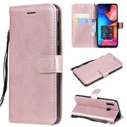 Retro Greek Classic Smooth PU Leather Wallet Phone Case for Samsung Galaxy A30 - Rose Gold