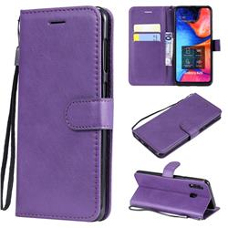 Retro Greek Classic Smooth PU Leather Wallet Phone Case for Samsung Galaxy A30 - Purple