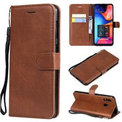 Retro Greek Classic Smooth PU Leather Wallet Phone Case for Samsung Galaxy A30 - Brown