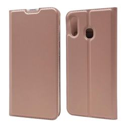 Ultra Slim Card Magnetic Automatic Suction Leather Wallet Case for Samsung Galaxy A30 - Rose Gold