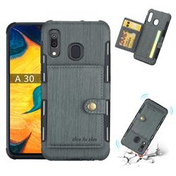 Brush Multi-function Leather Phone Case for Samsung Galaxy A30 - Gray