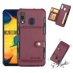 Brush Multi-function Leather Phone Case for Samsung Galaxy A30 - Wine Red