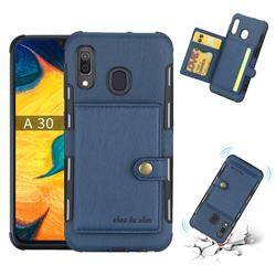 Brush Multi-function Leather Phone Case for Samsung Galaxy A30 - Blue