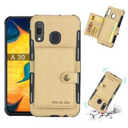 Brush Multi-function Leather Phone Case for Samsung Galaxy A30 - Golden