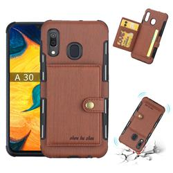 Brush Multi-function Leather Phone Case for Samsung Galaxy A30 - Brown