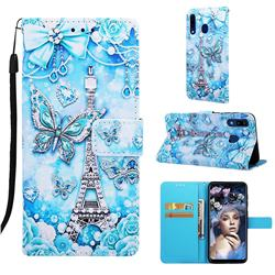 Tower Butterfly Matte Leather Wallet Phone Case for Samsung Galaxy A30