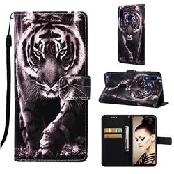Black and White Tiger Matte Leather Wallet Phone Case for Samsung Galaxy A30