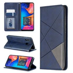 Prismatic Slim Magnetic Sucking Stitching Wallet Flip Cover for Samsung Galaxy A30 - Blue