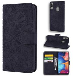 Retro Embossing Mandala Flower Leather Wallet Case for Samsung Galaxy A30 - Black