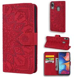 Retro Embossing Mandala Flower Leather Wallet Case for Samsung Galaxy A30 - Red