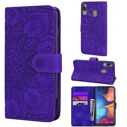 Retro Embossing Mandala Flower Leather Wallet Case for Samsung Galaxy A30 - Purple