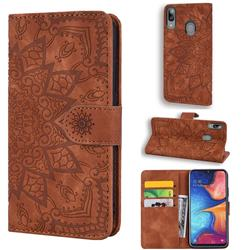Retro Embossing Mandala Flower Leather Wallet Case for Samsung Galaxy A30 - Brown