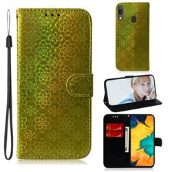 Laser Circle Shining Leather Wallet Phone Case for Samsung Galaxy A30 - Golden