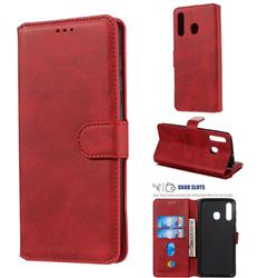 Retro Calf Matte Leather Wallet Phone Case for Samsung Galaxy A30 - Red