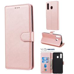 Retro Calf Matte Leather Wallet Phone Case for Samsung Galaxy A30 - Pink