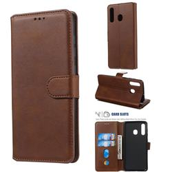 Retro Calf Matte Leather Wallet Phone Case for Samsung Galaxy A30 - Brown