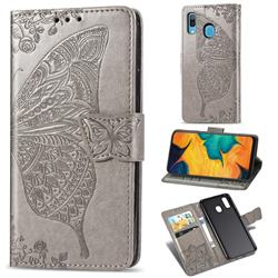 Embossing Mandala Flower Butterfly Leather Wallet Case for Samsung Galaxy A30 - Gray