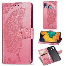 Embossing Mandala Flower Butterfly Leather Wallet Case for Samsung Galaxy A30 - Pink