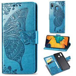 Embossing Mandala Flower Butterfly Leather Wallet Case for Samsung Galaxy A30 - Blue