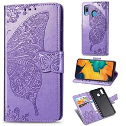 Embossing Mandala Flower Butterfly Leather Wallet Case for Samsung Galaxy A30 - Light Purple