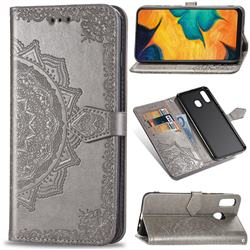 Embossing Imprint Mandala Flower Leather Wallet Case for Samsung Galaxy A30 - Gray
