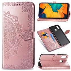 Embossing Imprint Mandala Flower Leather Wallet Case for Samsung Galaxy A30 - Rose Gold