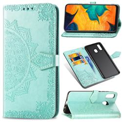 Embossing Imprint Mandala Flower Leather Wallet Case for Samsung Galaxy A30 - Green
