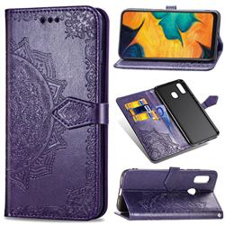 Embossing Imprint Mandala Flower Leather Wallet Case for Samsung Galaxy A30 - Purple