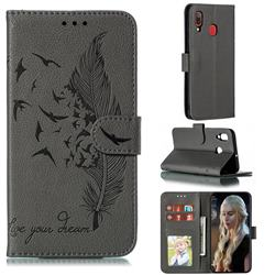 Intricate Embossing Lychee Feather Bird Leather Wallet Case for Samsung Galaxy A30 - Gray