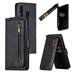 Multifunction 9 Cards Leather Zipper Wallet Phone Case for Samsung Galaxy A30 - Black