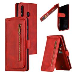 Multifunction 9 Cards Leather Zipper Wallet Phone Case for Samsung Galaxy A30 - Red