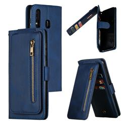 Multifunction 9 Cards Leather Zipper Wallet Phone Case for Samsung Galaxy A30 - Blue