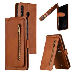 Multifunction 9 Cards Leather Zipper Wallet Phone Case for Samsung Galaxy A30 - Brown