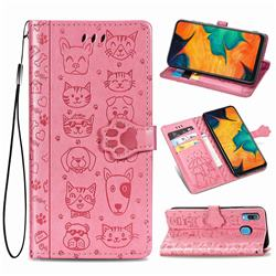 Embossing Dog Paw Kitten and Puppy Leather Wallet Case for Samsung Galaxy A30 - Pink
