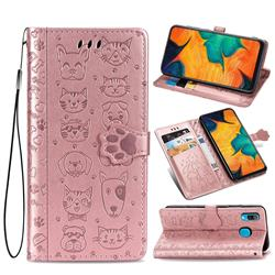 Embossing Dog Paw Kitten and Puppy Leather Wallet Case for Samsung Galaxy A30 - Rose Gold