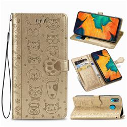 Embossing Dog Paw Kitten and Puppy Leather Wallet Case for Samsung Galaxy A30 - Champagne Gold
