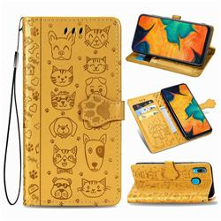 Embossing Dog Paw Kitten and Puppy Leather Wallet Case for Samsung Galaxy A30 - Yellow