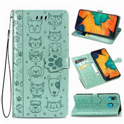 Embossing Dog Paw Kitten and Puppy Leather Wallet Case for Samsung Galaxy A30 - Green