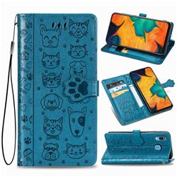 Embossing Dog Paw Kitten and Puppy Leather Wallet Case for Samsung Galaxy A30 - Blue