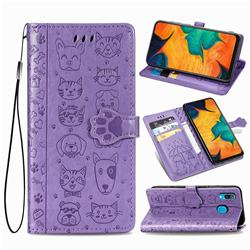 Embossing Dog Paw Kitten and Puppy Leather Wallet Case for Samsung Galaxy A30 - Purple