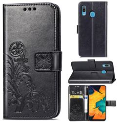 Embossing Imprint Four-Leaf Clover Leather Wallet Case for Samsung Galaxy A30 - Black