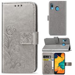 Embossing Imprint Four-Leaf Clover Leather Wallet Case for Samsung Galaxy A30 - Grey