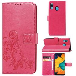 Embossing Imprint Four-Leaf Clover Leather Wallet Case for Samsung Galaxy A30 - Rose Red
