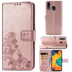 Embossing Imprint Four-Leaf Clover Leather Wallet Case for Samsung Galaxy A30 - Rose Gold