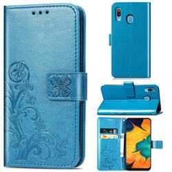 Embossing Imprint Four-Leaf Clover Leather Wallet Case for Samsung Galaxy A30 - Blue