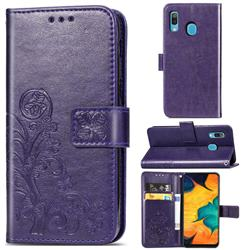 Embossing Imprint Four-Leaf Clover Leather Wallet Case for Samsung Galaxy A30 - Purple