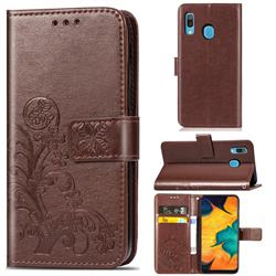 Embossing Imprint Four-Leaf Clover Leather Wallet Case for Samsung Galaxy A30 - Brown